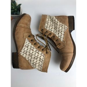 ROUTE 66 WOMAN BEIGE ANKLE HEELS BOOTS SIZE 9